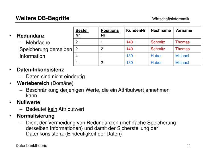 Weitere DB-Begriffe