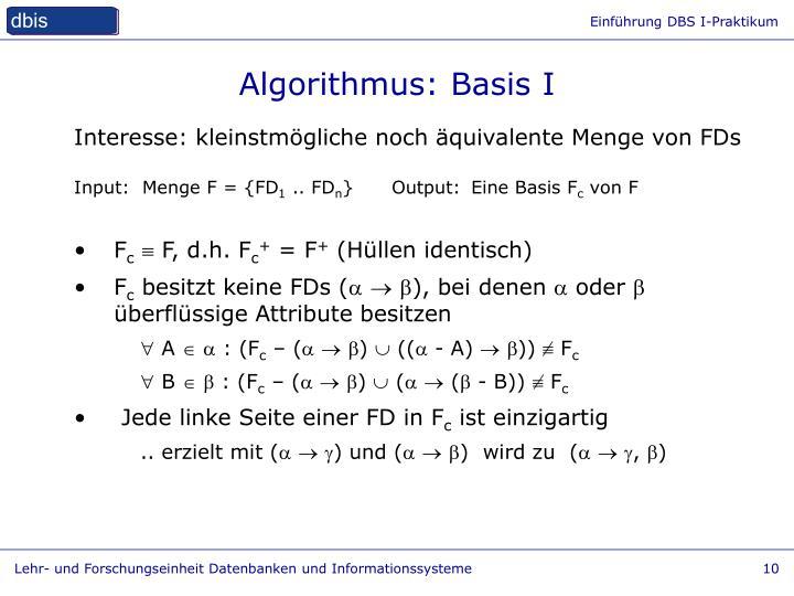 Algorithmus: Basis I