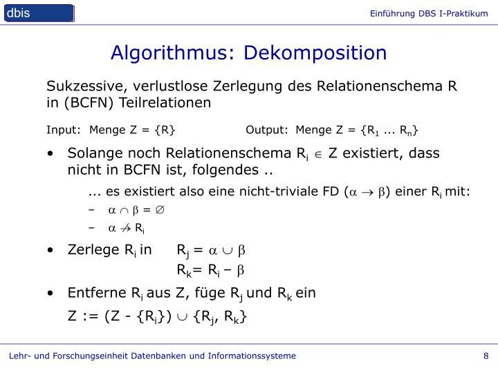 Algorithmus: Dekomposition