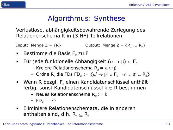 Algorithmus: Synthese