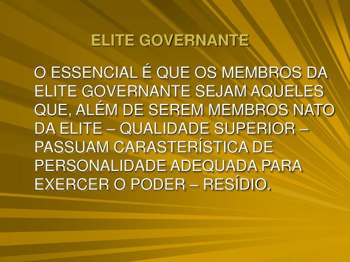 ELITE GOVERNANTE