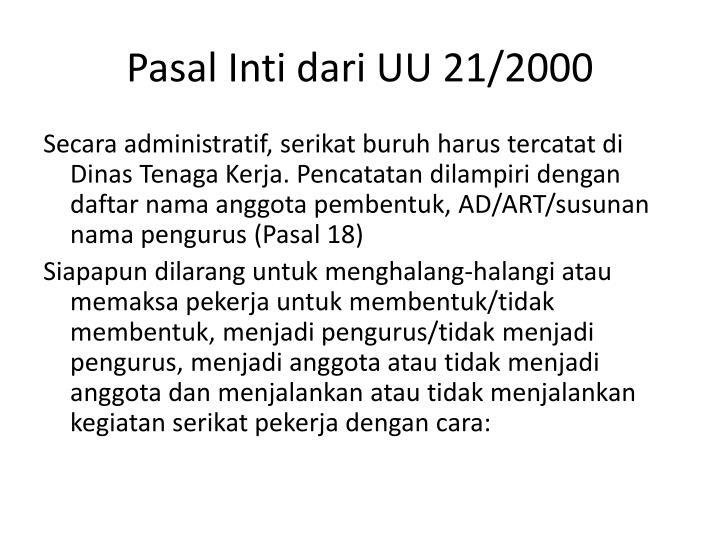 Pasal Inti dari UU 21/2000