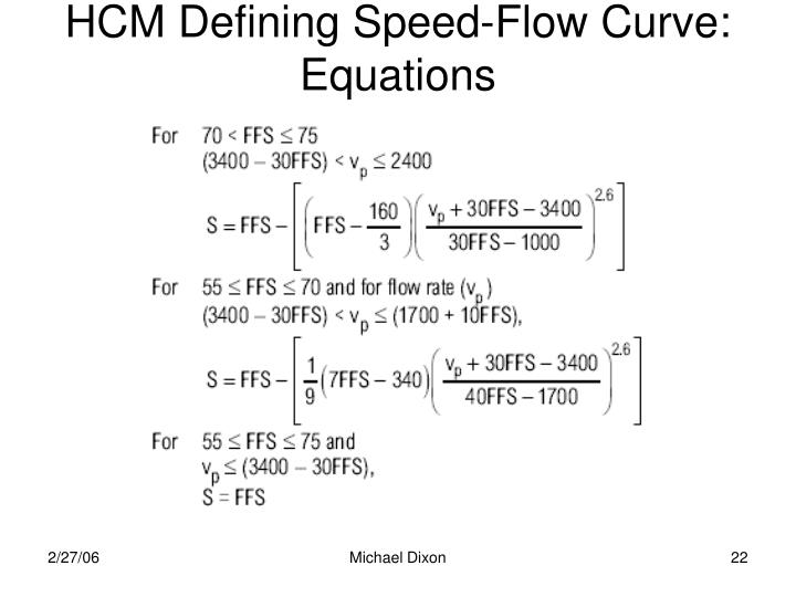 HCM Defining Speed-Flow Curve:  Equations