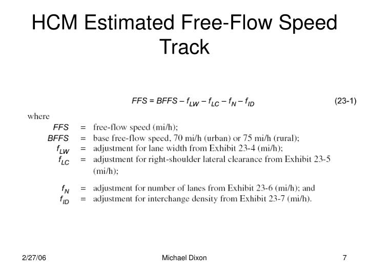 HCM Estimated Free-Flow Speed Track