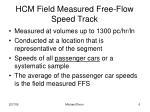 hcm field measured free flow speed track