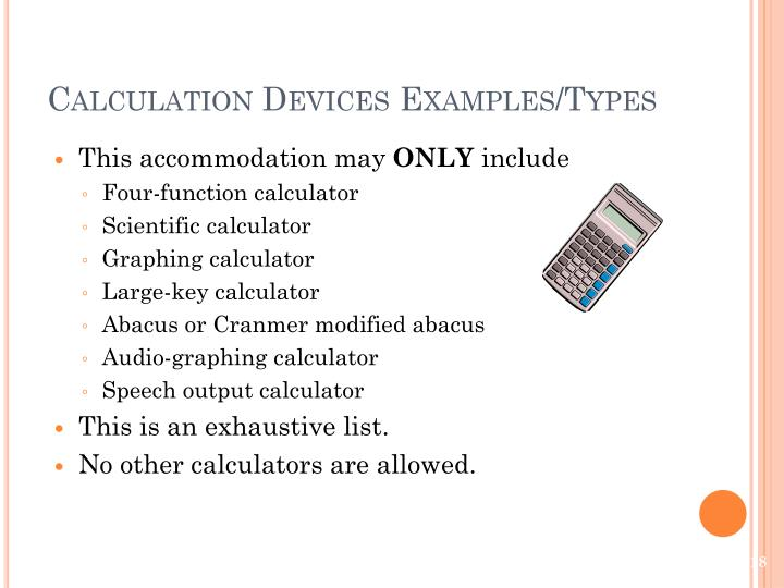 Calculation Devices Examples/Types