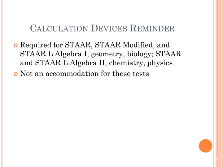 Calculation Devices Reminder