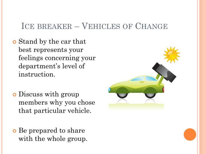 Ice breaker – Vehicles of Change