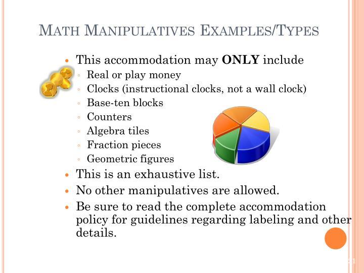 Math Manipulatives Examples/Types
