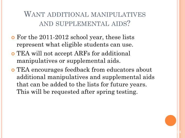 Want additional manipulatives
