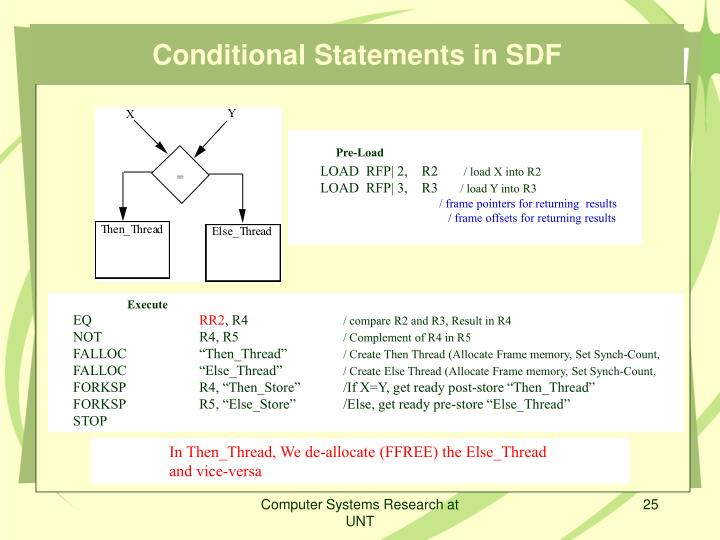 Conditional Statements in SDF