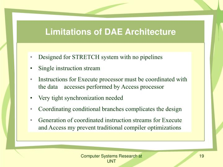 Limitations of DAE Architecture