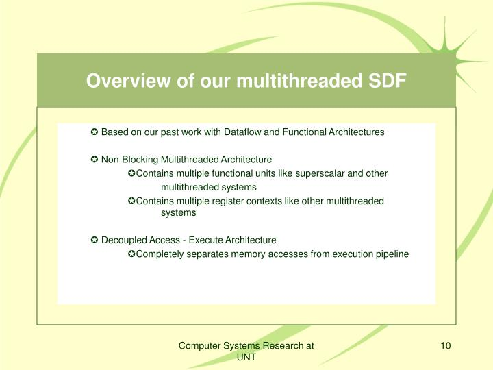 Overview of our multithreaded SDF