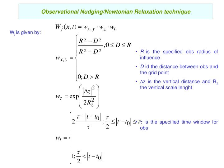 Observational Nudging/Newtonian Relaxation technique