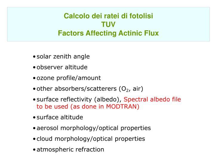 Calcolo dei ratei di fotolisi