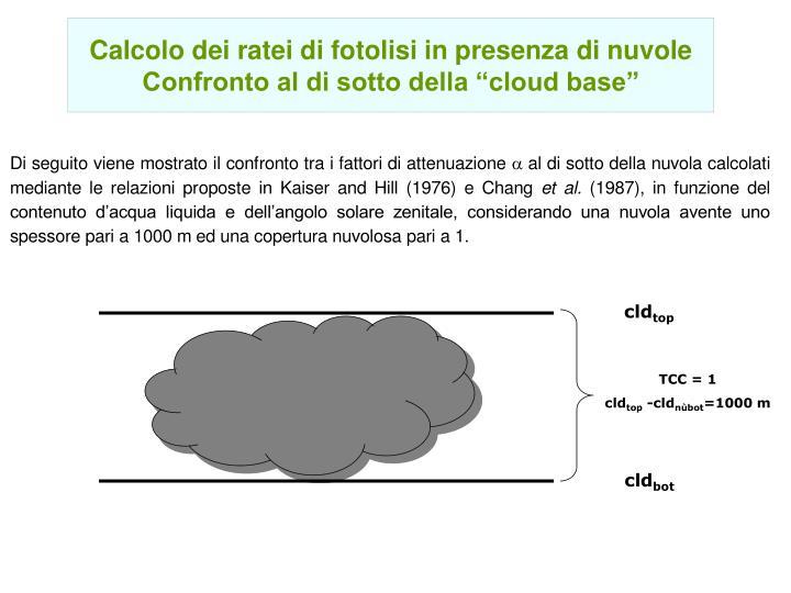 Calcolo dei ratei di fotolisi in presenza di nuvole