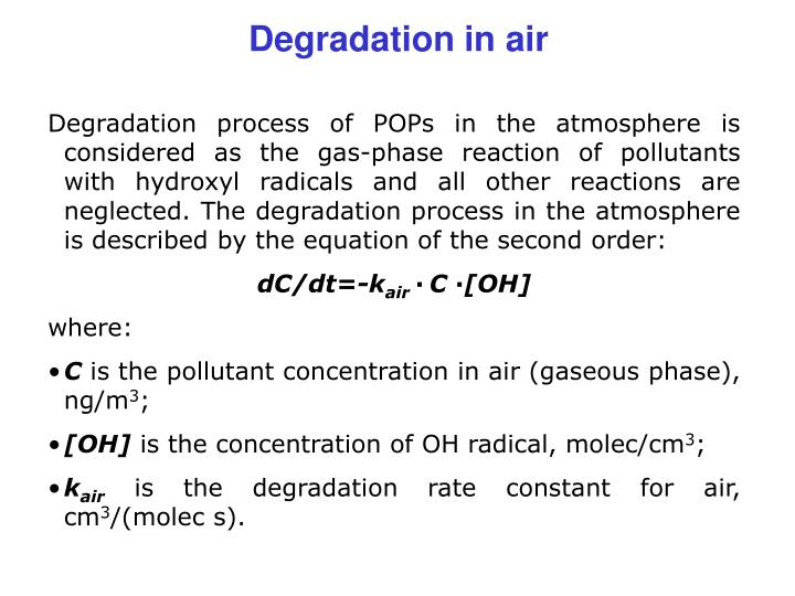 Degradation in air