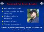 national pa team leader