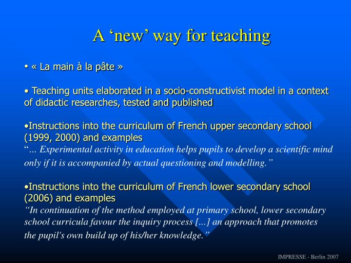 A 'new' way for teaching