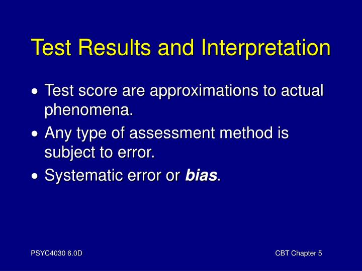 Test results and interpretation