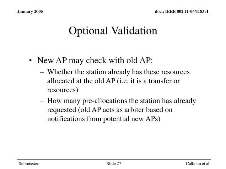 Optional Validation