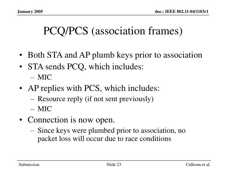 PCQ/PCS (association frames)