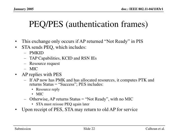 PEQ/PES (authentication frames)