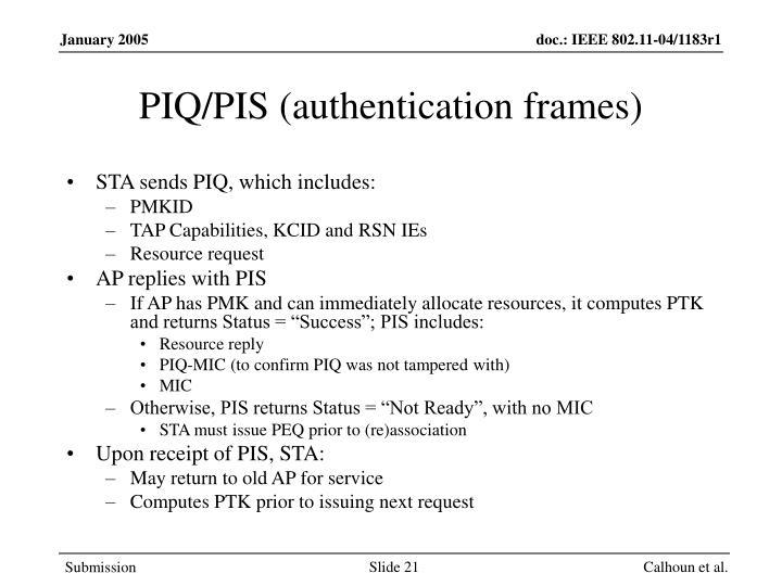 PIQ/PIS (authentication frames)