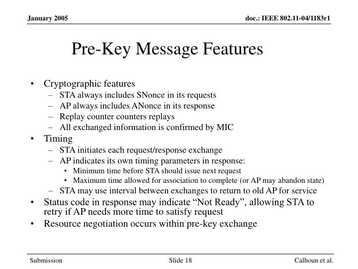 Pre-Key Message Features