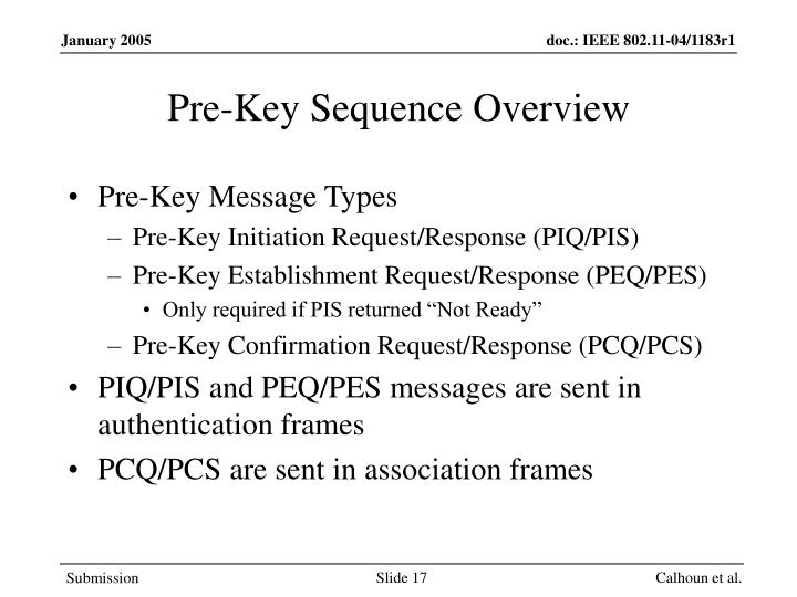 Pre-Key Sequence Overview