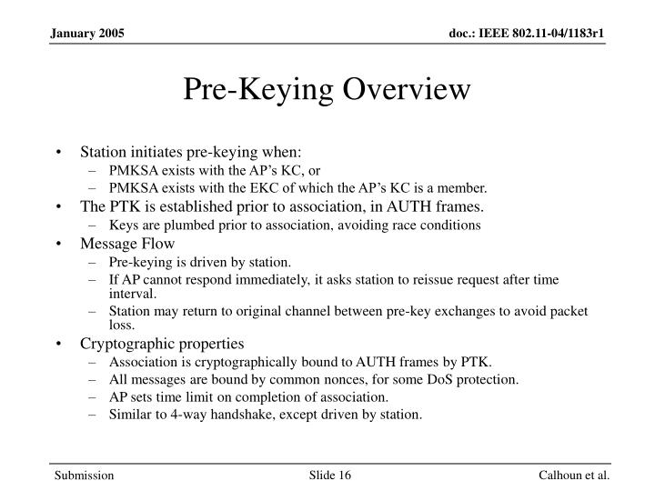 Pre-Keying Overview