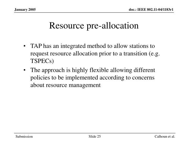 Resource pre-allocation