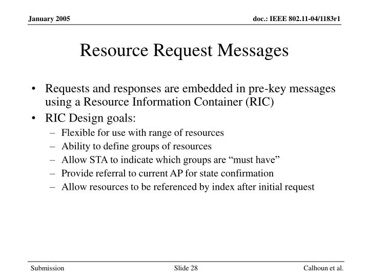 Resource Request Messages