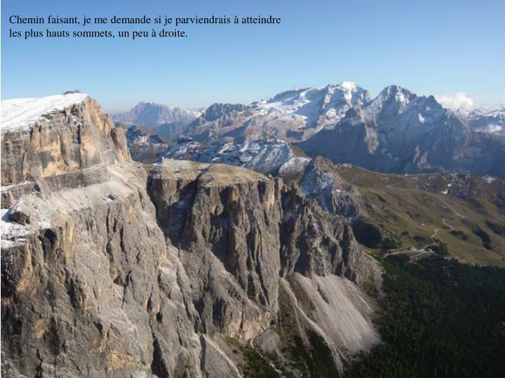 Chemin faisant, je me demande si je parviendrais à atteindre les plus hauts sommets, un peu à droite.