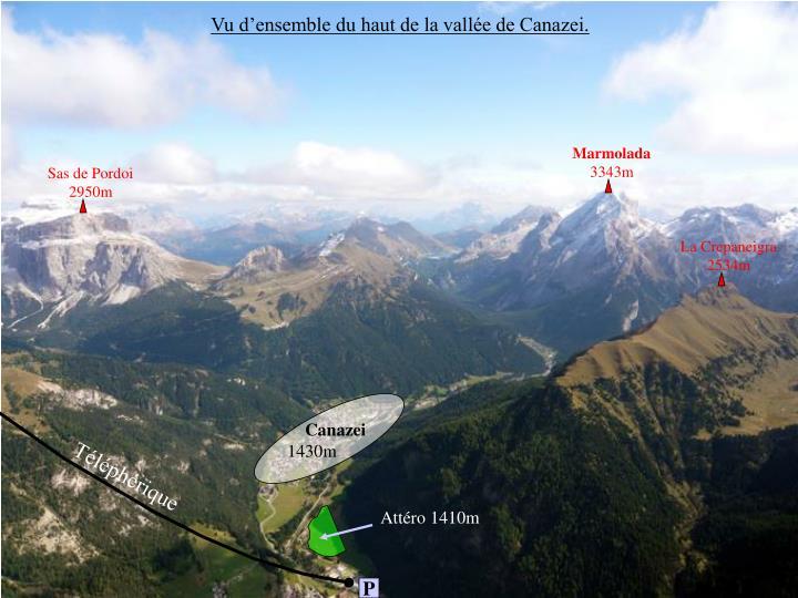Vu d'ensemble du haut de la vallée de Canazei.
