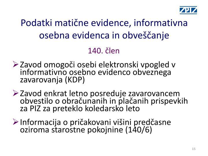 Podatki matične evidence, informativna osebna