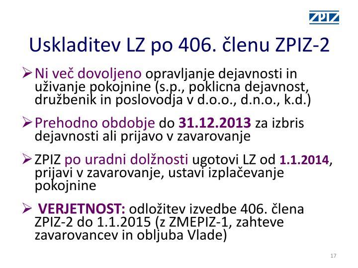 Uskladitev LZ po 406. členu ZPIZ-2