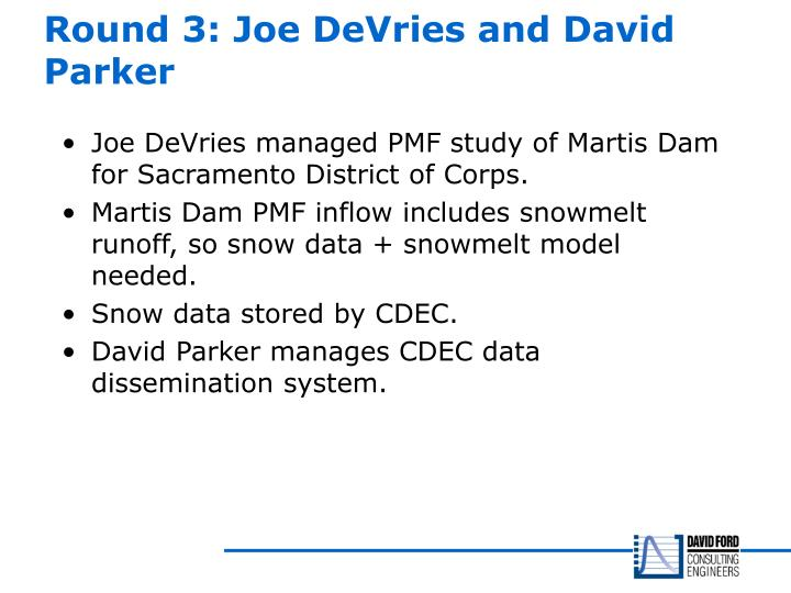 Round 3: Joe DeVries and David Parker