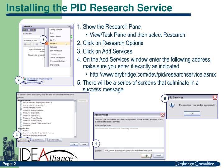 Installing the PID Research Service