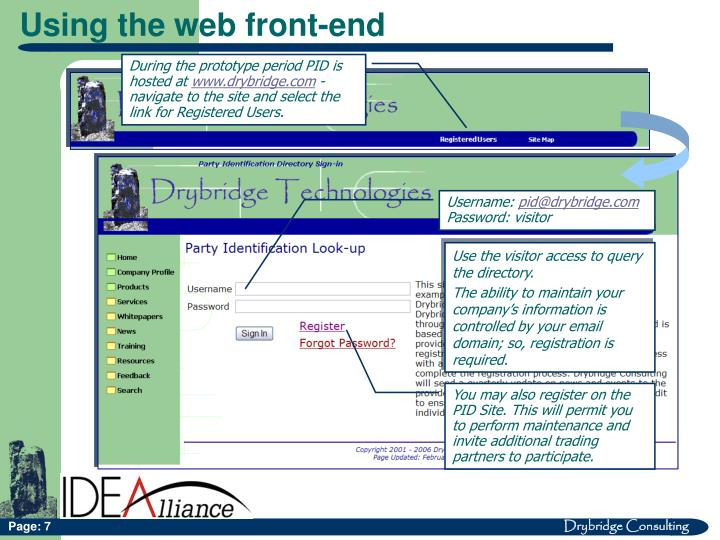 Using the web front-end