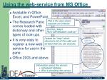 using the web service from ms office