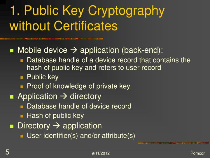 1. Public Key Cryptography without Certificates