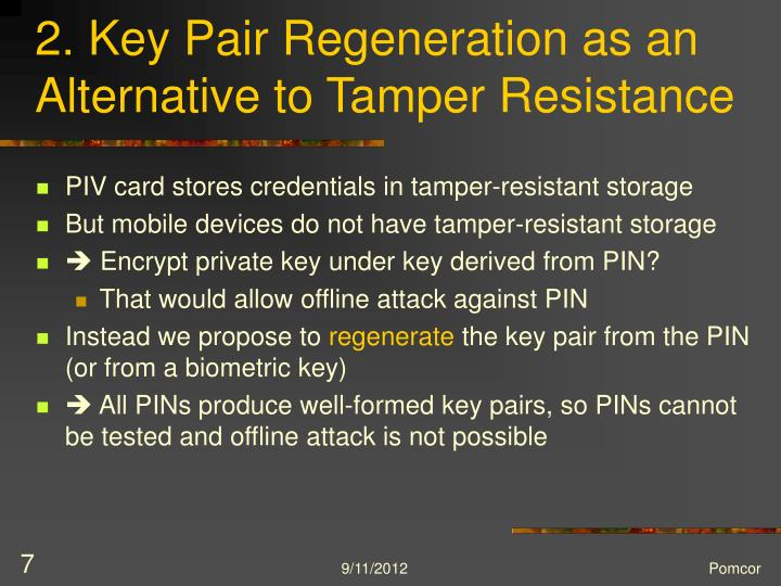 2. Key Pair Regeneration as an Alternative to Tamper Resistance