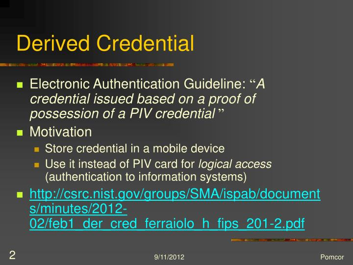 Derived credential