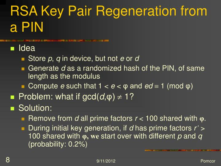 RSA Key Pair Regeneration from a PIN