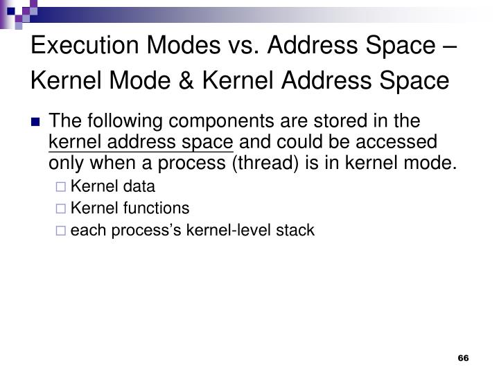 Execution Modes vs. Address Space – Kernel Mode & Kernel Address Space