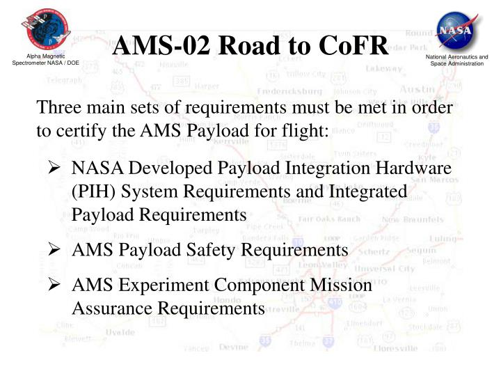 AMS-02 Road to CoFR