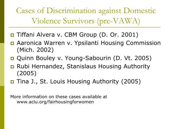 Cases of Discrimination against Domestic Violence Survivors (pre-VAWA)