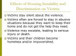 effects of housing instability and discrimination on victims
