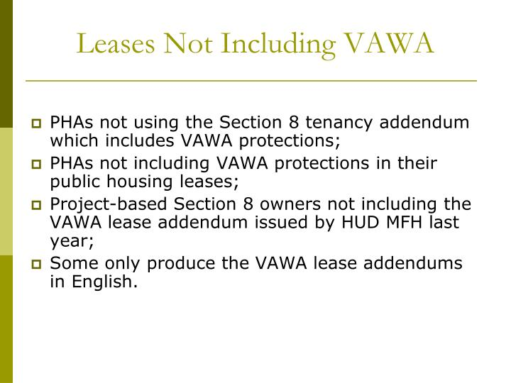 Leases Not Including VAWA